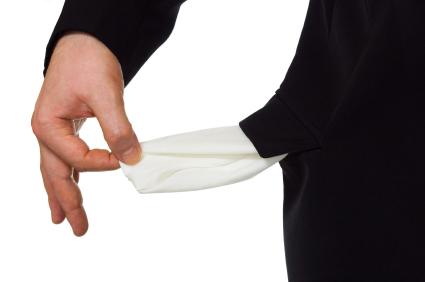 Hand and empty pocket